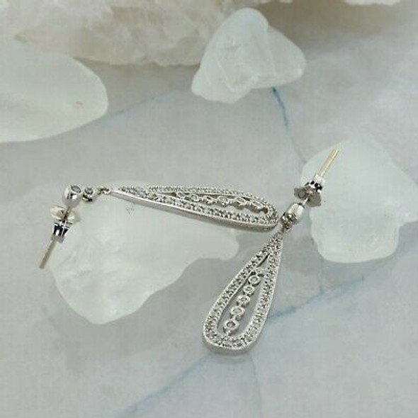 14K White Gold Diamond Earrings Teardrop Design