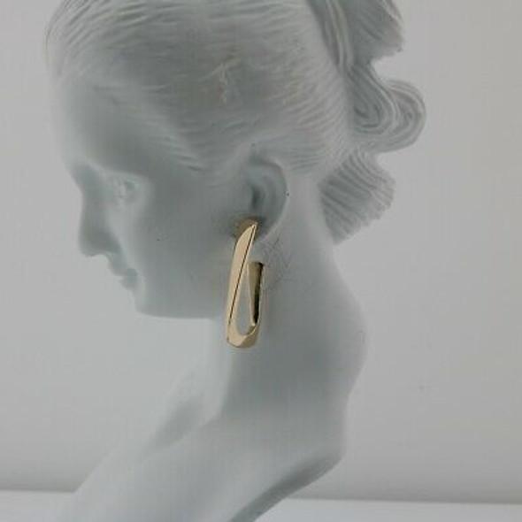 14K Yellow Gold Hoop Earrings J Hook Post