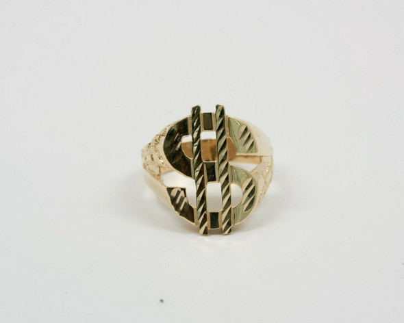 """14K Yellow Gold Men's Nugget Design """"$"""" Sign Ring, Size 10.25"""