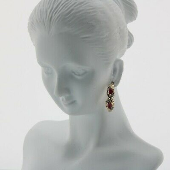 10K Yellow Gold Ruby and Diamonds Hoop Earrings