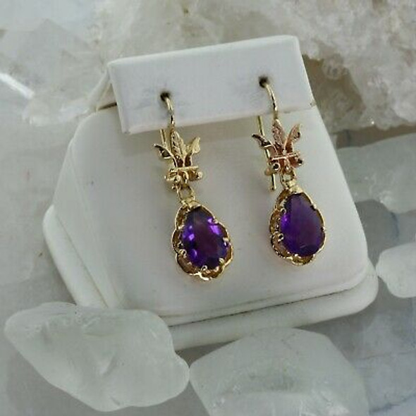 14K Yellow Gold and Amethyst Earrings Pear Shaped Amethyst