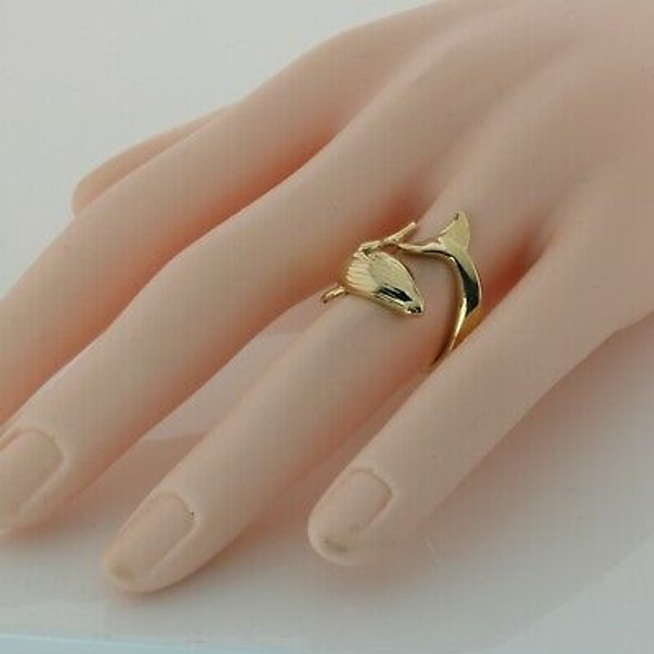 14K Yellow Gold Whale Ring Size 6.5+ Circa 1990