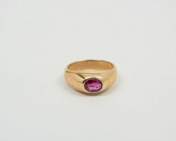 14K Yellow Gold Men's Pink Tourmaline Ring, Size 7.5