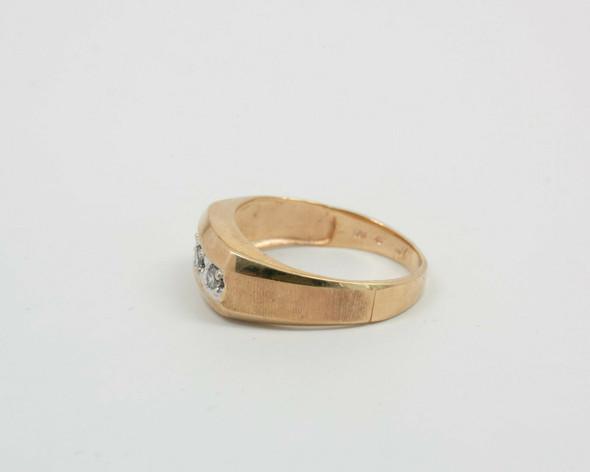 10K Yellow Gold Men's Diamond Ring with 3 Stones Across, Size 11.25