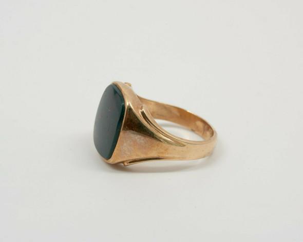 10K Yellow Gold Men's Bloodstone Cabochon Ring Circa 1940's, Size 13.5