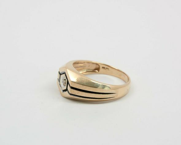 10K Yellow Gold Men's Art Deco Style Diamond Ring Circa 1970, Size 12
