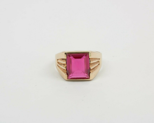 10K Yellow Gold Men's Red Spinel Ring, Size 10