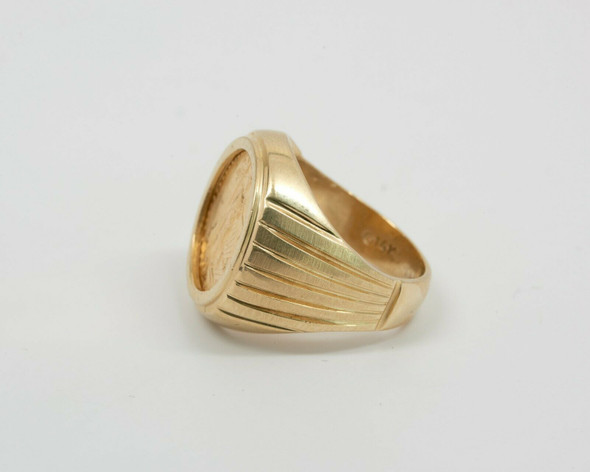 14K Yellow Gold Men's 1990 American 1/10 Gold Eagle Coin Ring, Size 7.5