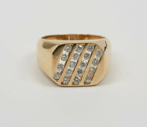 14K Yellow Gold Men's Channel Set Diamond Ring Circa 1970's, Size 9.75