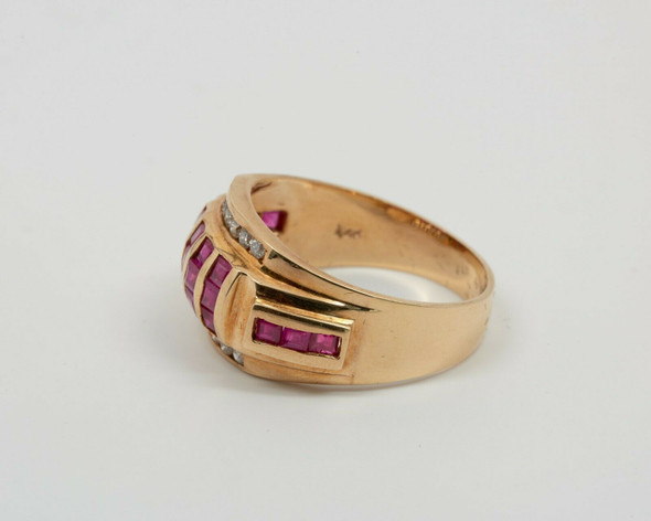14K Yellow Gold Men's Ruby and Diamond Ring, Size 12.5
