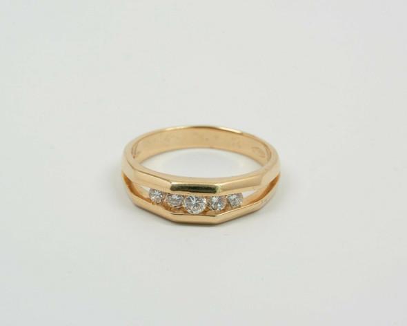 14K Yellow Gold Men's 5 Stone Diamond Ring Circa 1960, Size 11.75