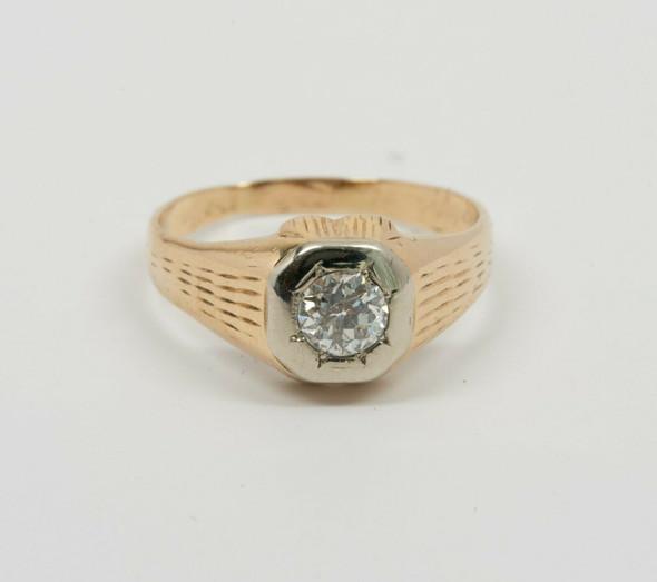 14K Yellow Gold Men's Art Deco Diamond Ring , Size 9.75