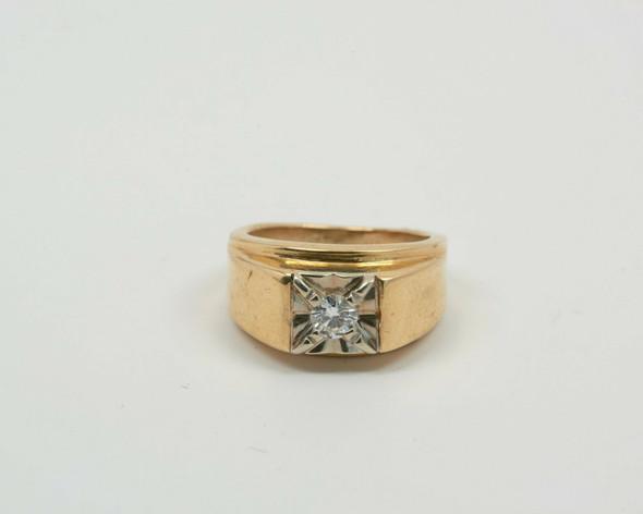 14K Yellow Gold Men's Diamond Ring Circa 1950, Size 6+