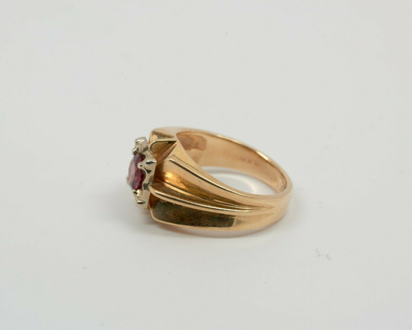 14K Yellow Gold Unisex Tourmaline Ring Circa 1940, Size 7