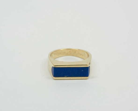 14K Yellow Gold Men's Lapis Ring Circa 1960, Size 7