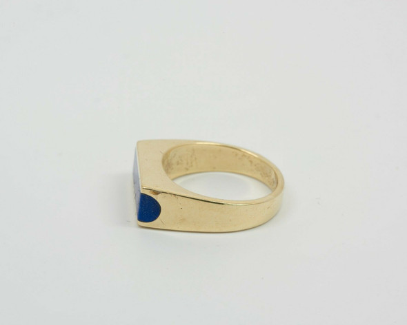 14K Yellow Gold Men's Lapis Ring Circa 1960, Size 7
