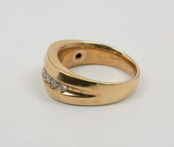 14K Yellow Gold Men's Diamond Ring with 7 Graduated Stones Circa 1970, Size 10