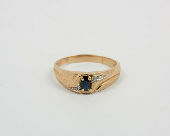 10K Yellow Gold Men's Sapphire and Diamond Accent Ring Circa 1950, Size 15+