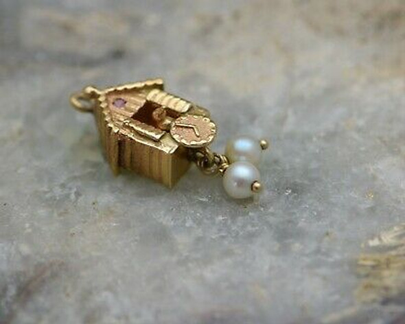 14K Yellow Gold Cuckoo clock Charm with Pearl Drops, Circa 1950