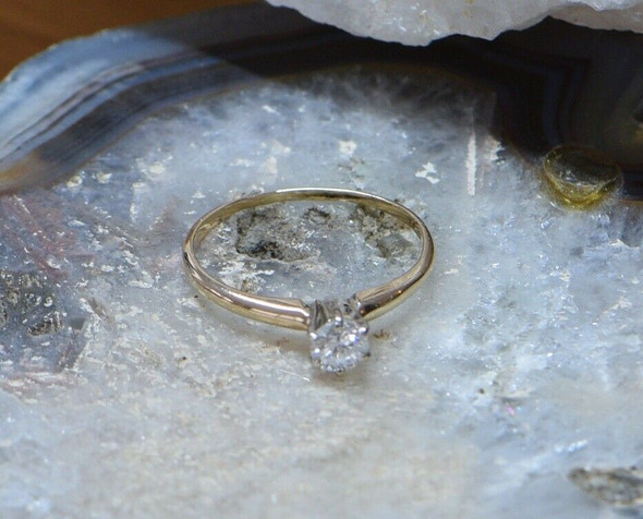 14K Yellow Gold Diamond Solitaire Ring 1/3 ct., Circa 1960, Size 5.5