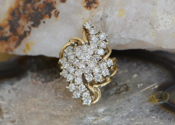 14K Yellow Gold Large Diamond Cocktail Ring Circa 1970, Size 5.75
