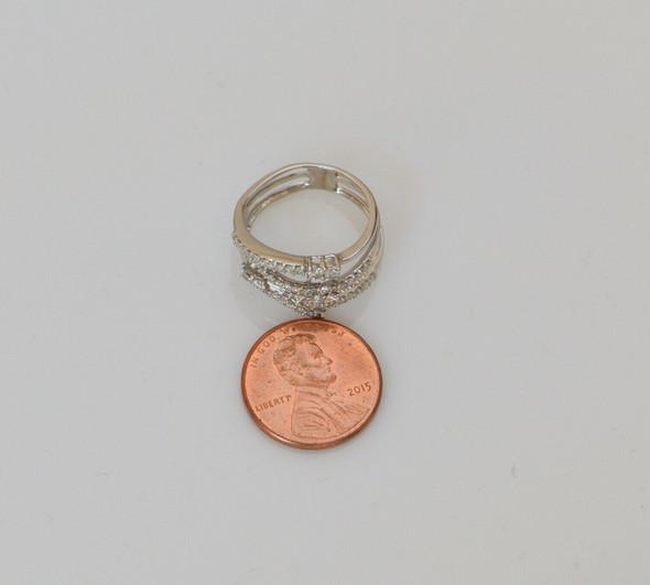 14K White Gold Asymetrical Multiple Bypass Modernist Diamond Ring, Size 6