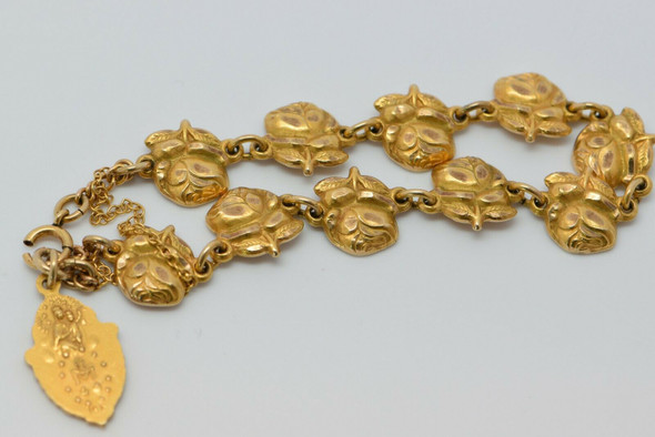 10K Yellow Gold Religious and Roses Themed Bracelet