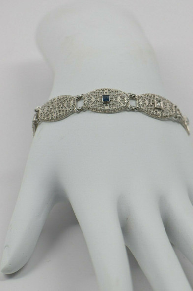 14K White Gold Filigree Bracelet with Diamonds and Sapphires, Circa 1920