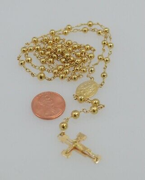 "18K Yellow Gold Rosary Beads Necklace with Madonna Medal and Crucifix, 25"" Long"