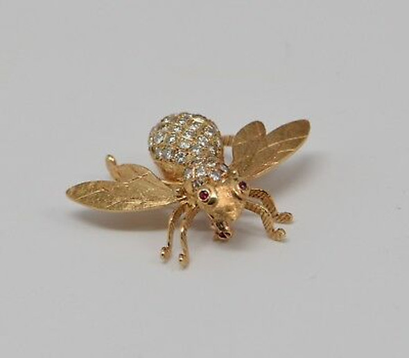 14K Yellow Gold Diamond and Ruby Bee Brooch/Pin, Circa 1960