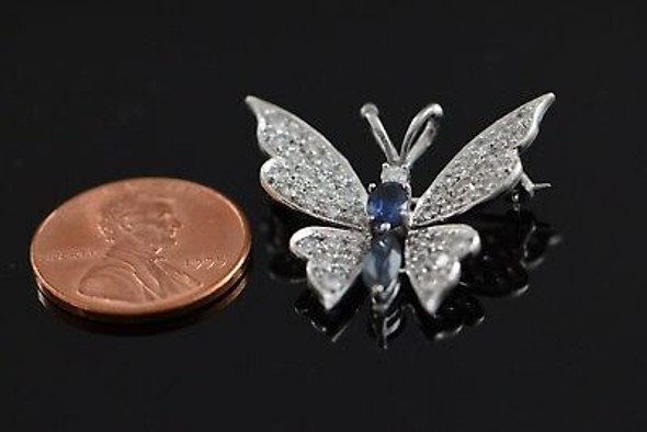 14K White Gold Diamond and Sapphire Butterfly Brooch/Pin, Circa 1950