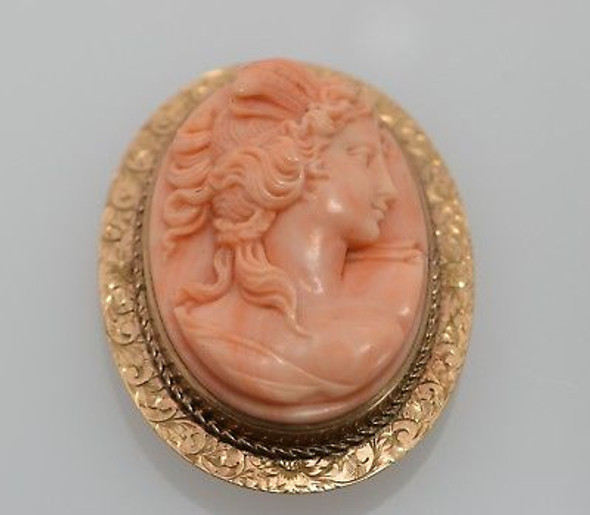 Vintage 10K Yellow Gold Large Coral Cameo Brooch/Pendant, Circa 1890