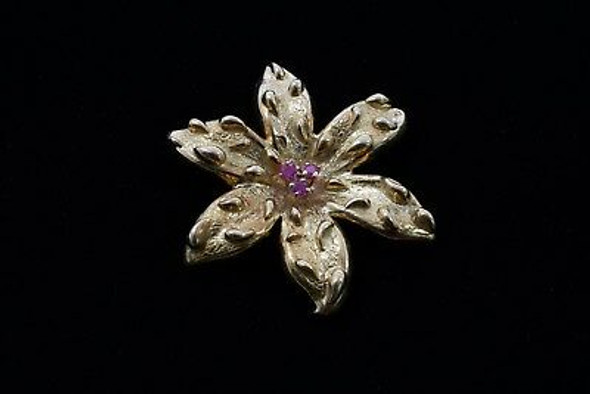 18K Yellow Gold Tiffany & Co. Flower Shaped Pin/Brooch w/3 Rubies, Circa 1960's