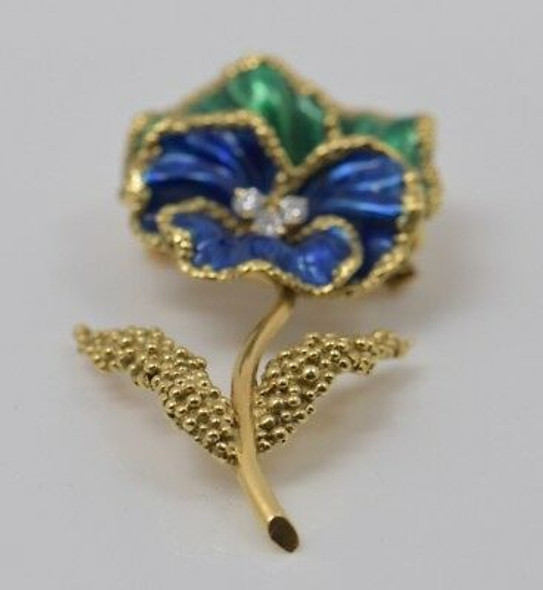 Vintage 18K Yellow Gold Green and Blue Enameled Floral Brooch with Diamonds