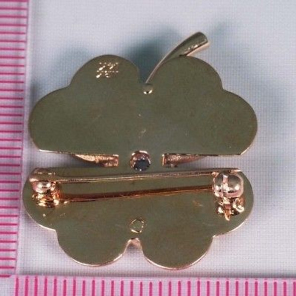 """14K Yellow Gold """"Four Leaf Clover"""" Brooch/Pin with Diamond Center"""
