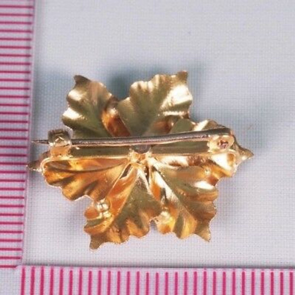 "10K Yellow Gold ""Poinsettia"" Brooch/Pin with Rose Cut Diamond Chip Center"