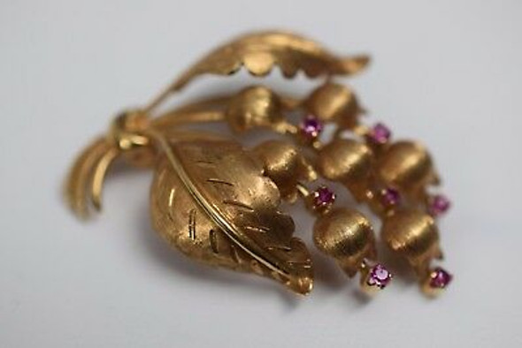 18K Yellow Gold Tiffany & Co. Lily of the Valley Ruby Brooch, Circa 1950