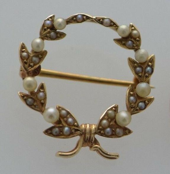 14K Yellow Gold Pearl Wreath Pin/Brooch, Vintage Circa 1920