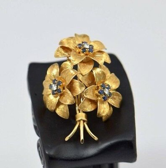 18K Yellow Gold Tiffany & Co. Diamond and Sapphire Floral Brooch, Circa 1960