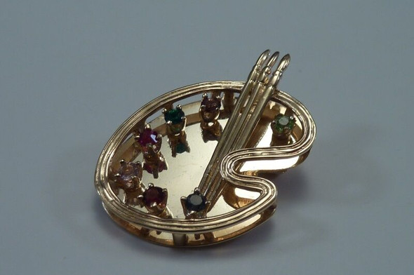 "14K Yellow Gold ""Artist's Palette"" Brooch/Pin with Multi Colored Stones"