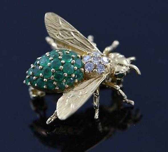 18K Yellow Gold Emerald and Diamond Bee Brooch/Pin