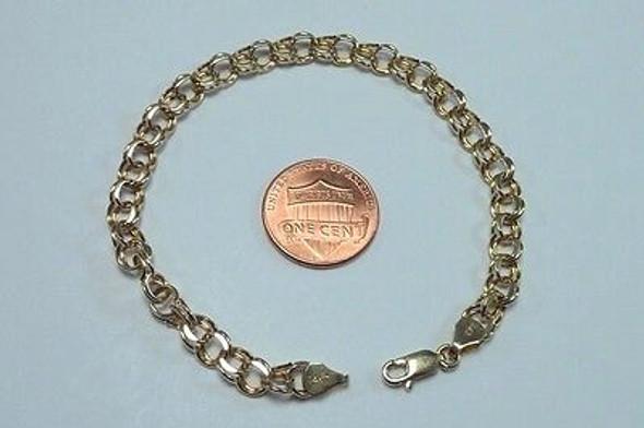 "14K Yellow Gold 7"" Double Link Charm Bracelet"