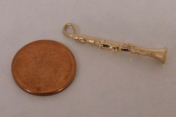 14K Yellow Gold Clarinet Charm/Pendant