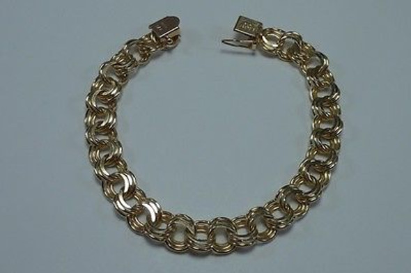 14K Yellow Gold Triple Cable Link Charm Bracelet 7.5 inches long