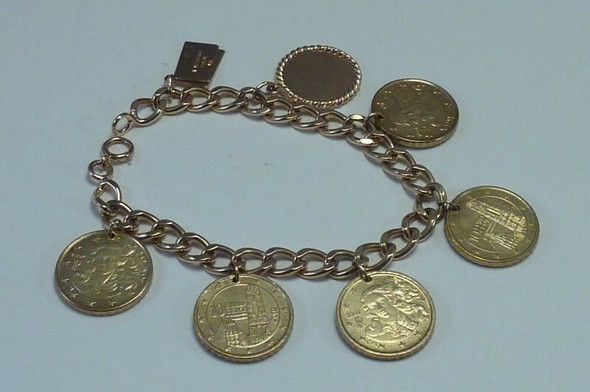 14K Yellow Gold 7 inch Bracelet w/Euro Coins and Gold Charms.