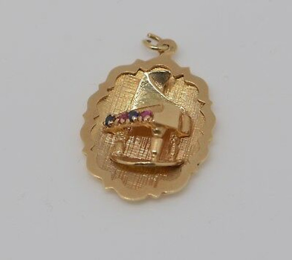 14K Yellow Gold Piano Charm with Ruby and Sapphire, Circa 1960
