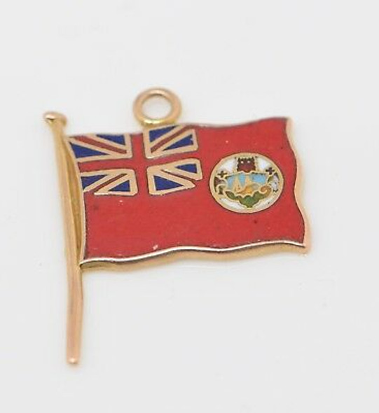 10K Yellow Gold Enamelled Bermuda Flag Charm, Circa 1950