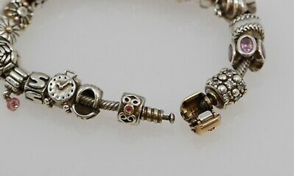 Sterling Silver Pandora Bracelet w/14K Yellow Gold Clasp & several Silver Charms
