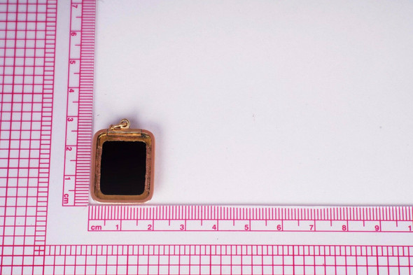 14K Rose Gold Intaglio Roman Soldier Black Onyx Charm