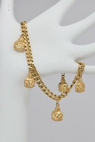 14K Yellow Gold Buddha Charm Bracelet, Circa 1970
